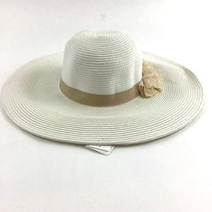 August Floral Accent Floppy Straw Hat OS White